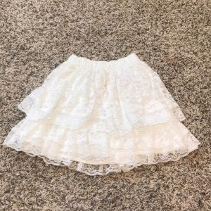 Girls white lace skirt
